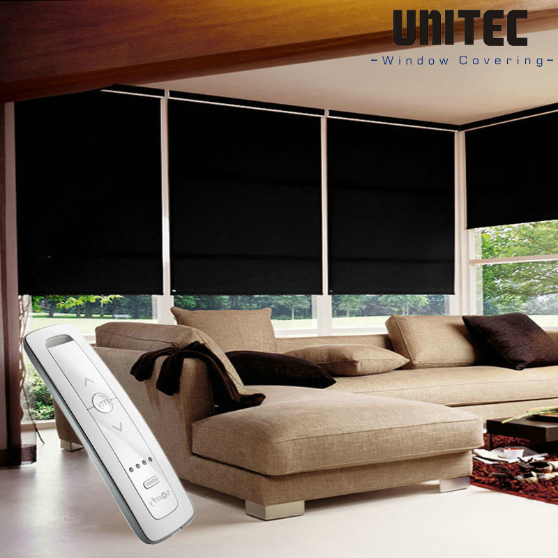 black-electric-remote-control-roller-blind
